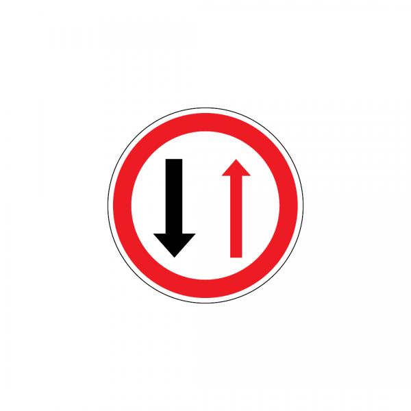 B5 - Cedência de passagem nos estreitamentos de faixa de rodagem - Sinais de Cedência de Passagem