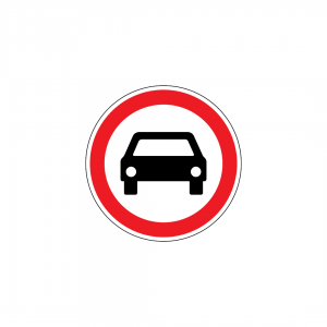 C3A - Trânsito proibido a automóveis e motociclos com carro - Sinais de Proibição