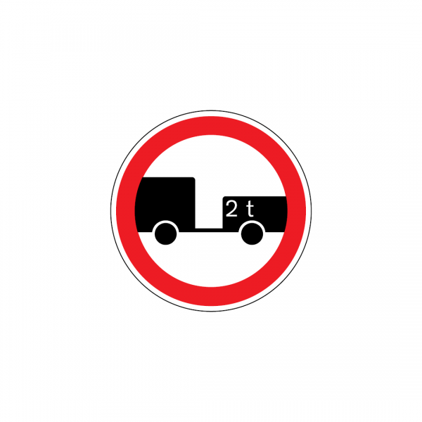 C3O - Trânsito proibido a veículos com reboque de dois ou mais eixos - Sinais de Proibição
