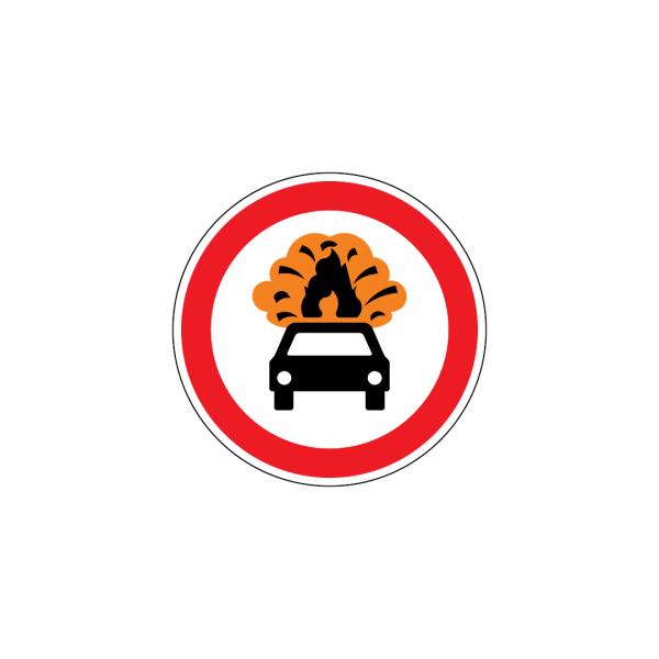 C3Q - Trânsito proibido a veículos transportando produtos facilmente inflamáveis ou explosivos - Sinais de Proibição