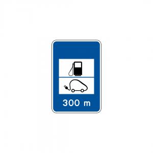H13C - Posto de abastecimento de combustível com serviço a veículos elétricos - Sinais de Informação