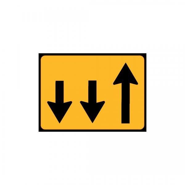 TC12 - Painel indicativo de circulação 1 via na direção da circulação e 2 vias no sentido contrário - TC | Painéis Temporários de Circulação