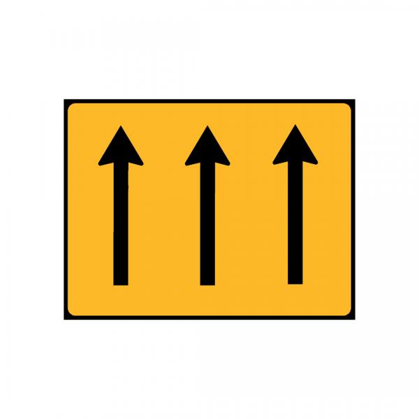TC3 - Painel indicativo da circulação 3 vias na direção da circulação - TC | Painéis Temporários de Circulação