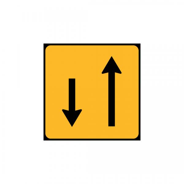TC4 - Painel indicativo da circulação 1 via na direção da circulação e 1 via no sentido contrário - TC | Painéis Temporários de Circulação
