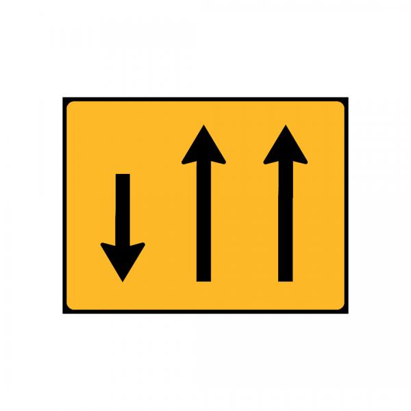 TC5 - Painel indicativo da circulação 2 vias na direção da circulação e 1 via no sentido contrário - TC | Painéis Temporários de Circulação