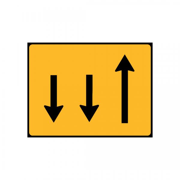 TC6 - Painel indicativo da circulação 1 via na direção da circulação e 2 vias no sentido contrário - TC | Painéis Temporários de Circulação