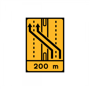 TD11-ST5 - Desvio de faixa (2×3 vias) Desvio das vias esquerda e central para as vias esquerda e central da faixa contrária - TD | Painéis Temporários de Desvio