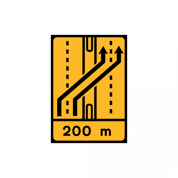 TD12 -Desvio de faixa (2×3 vias) Desvio das vias esquerda e central para as vias esquerda e central da faixa contrária - TD | Painéis Temporários de Desvio