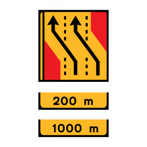 TD13-ST4 - Desvio de direção (3 vias) Desvio das vias direita e central para as vias esquerda e central - TD | Painéis Temporários de Desvio