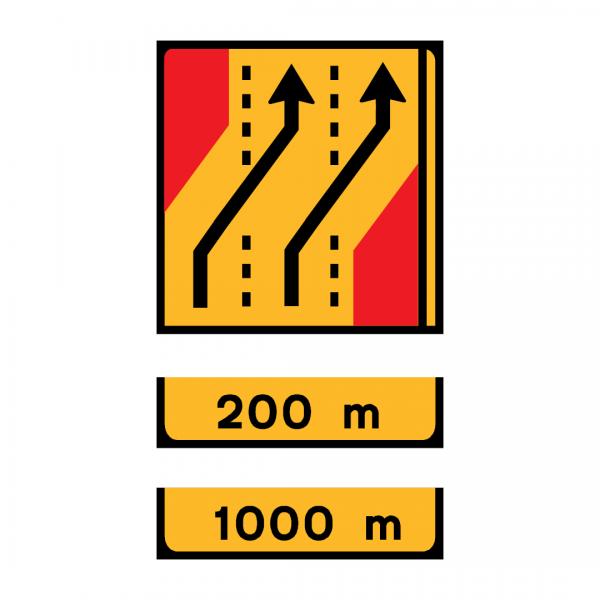 TD14 - Desvio de direção (3 vias) Desvio das vias esquerda e central para as vias direita e central - TD | Painéis Temporários de Desvio