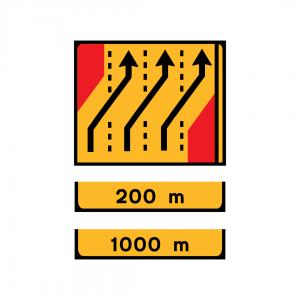 TD16 - Desvio de direção (4 vias) Desvio das vias esquerda, central esquerda e central direita para as vias central esquerda, central direita e direita - TD | Painéis Temporários de Desvio