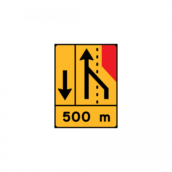 TD17 - Painel de estrangulamento à direita (1×2+VL) Desvio da via de lentos para a via adjacente - TD | Painéis Temporários de Desvio
