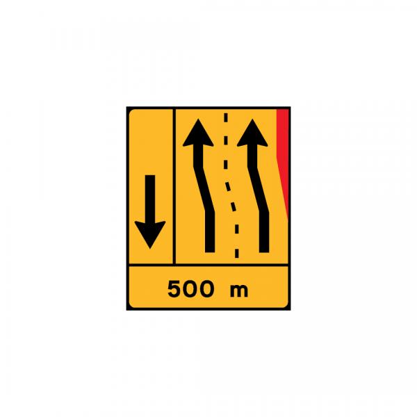 TD26 - Painel de estreitamento à direita (1×2+VL) - TD | Painéis Temporários de Desvio