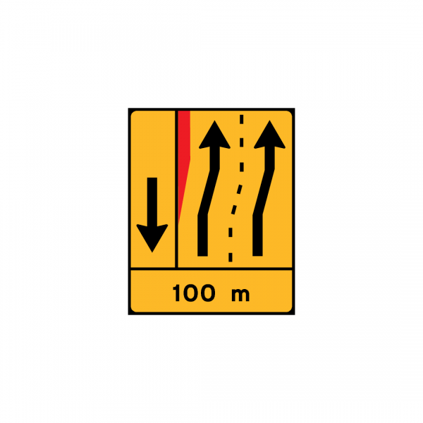 TD27 – Painel de estreitamento à esquerda (1×2+VL) - TD | Painéis Temporários de Desvio