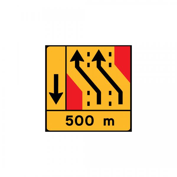 TD28 - Painel de desvio de direção (1×4) – Desvio de 2 vias para as 2 vias adjacentes à esquerda - TD | Painéis Temporários de Desvio
