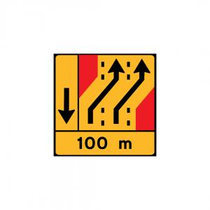 TD29 - Painel de desvio de direção (1×4) Desvio de 2 vias para as 2 vias adjacentes à direita - TD | Painéis Temporários de Desvio