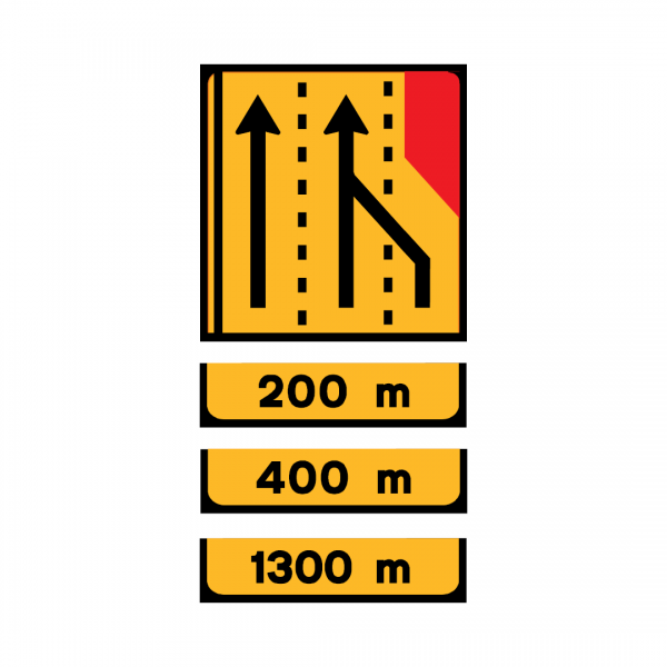 TD3 - Painel de estrangulamento à direita (3 vias) Desvio da via direita para a via central - TD | Painéis Temporários de Desvio