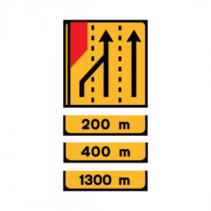 TD4 - Painel de estrangulamento à esquerda (3 vias) Desvio da via esquerda para a via central - TD | Painéis Temporários de Desvio